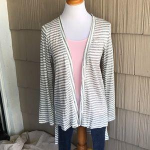 NWT POL grey stripe cardigan w/button details